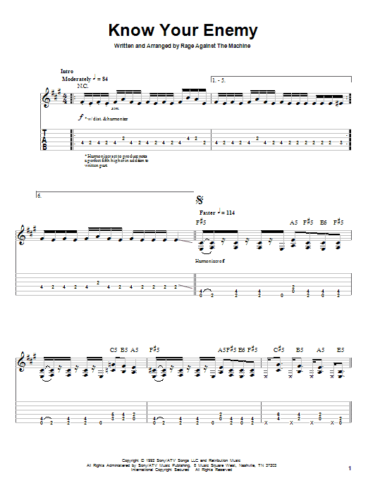 Rage Against The Machine Know Your Enemy sheet music preview music notes and score for Bass Guitar Tab including 8 page(s)