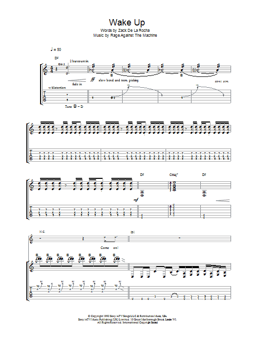Rage Against The Machine Wake Up sheet music preview music notes and score for Guitar Tab including 12 page(s)