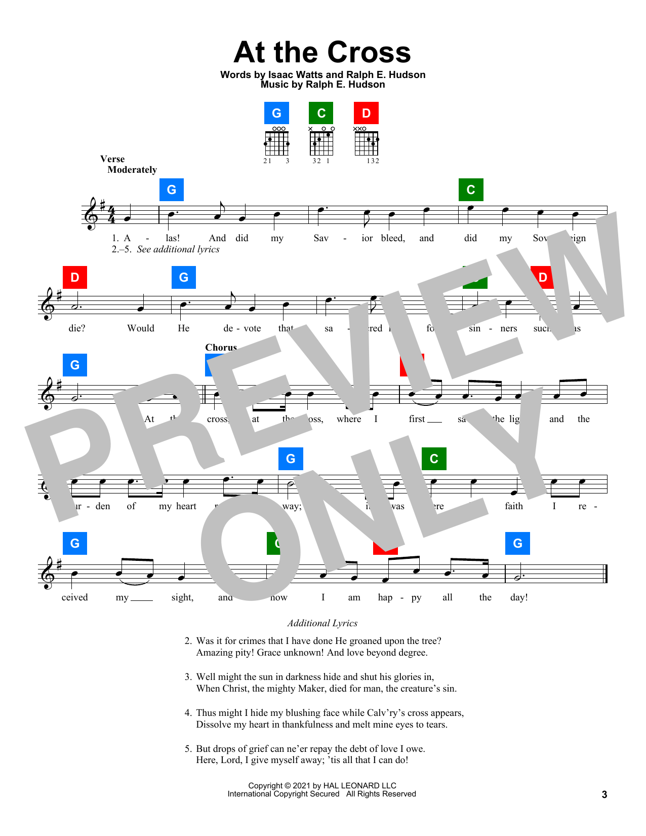 Ralph E. Hudson At The Cross sheet music preview music notes and score for Easy Piano including 2 page(s)