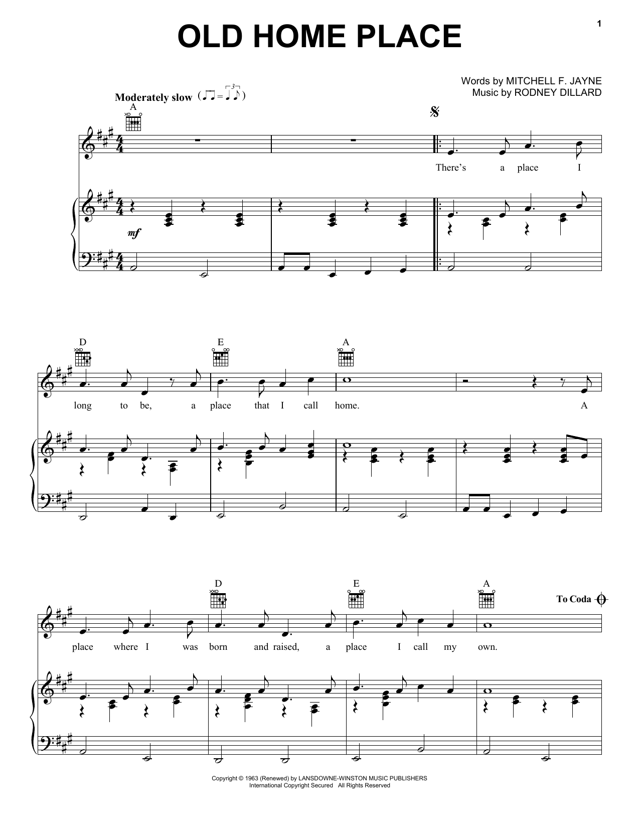 Ralph Stanley Old Home Place sheet music preview music notes and score for Piano, Vocal & Guitar (Right-Hand Melody) including 2 page(s)