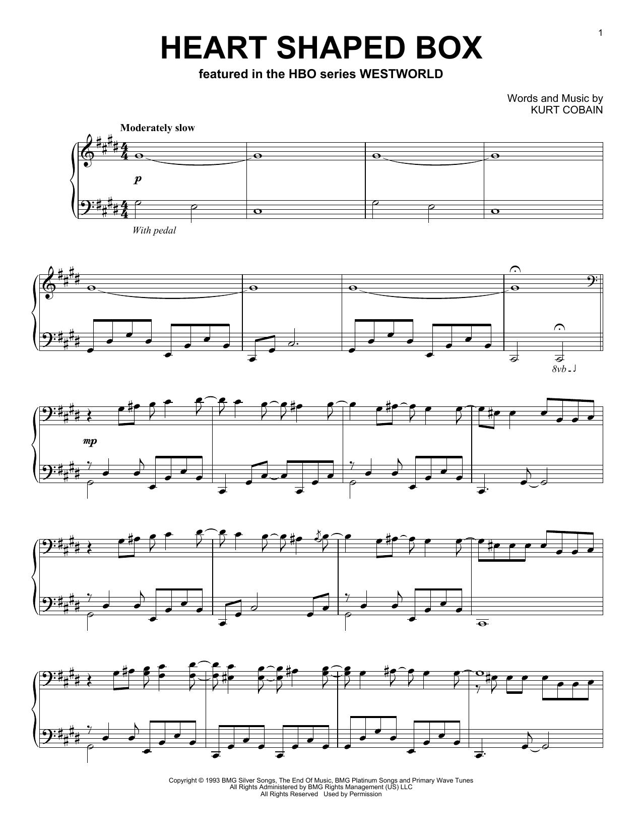 Download Ramin Djawadi 'Heart Shaped Box (from Westworld)' Digital Sheet Music Notes & Chords and start playing in minutes