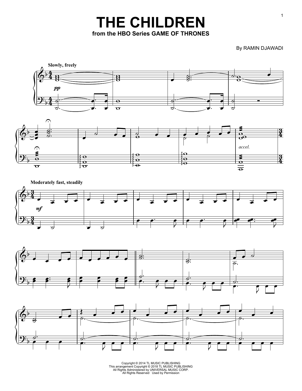 Download Ramin Djawadi 'The Children' Digital Sheet Music Notes & Chords and start playing in minutes