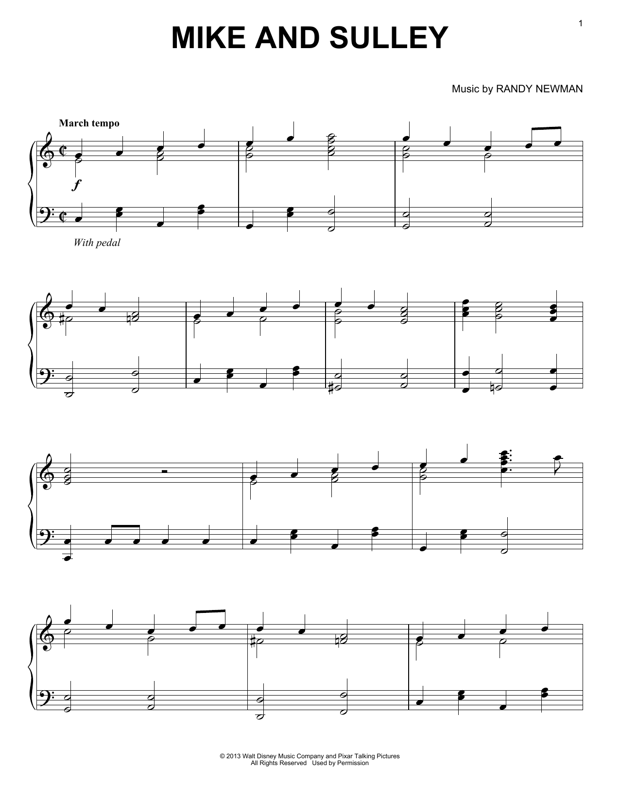 Download Randy Newman 'Mike And Sulley' Digital Sheet Music Notes & Chords and start playing in minutes