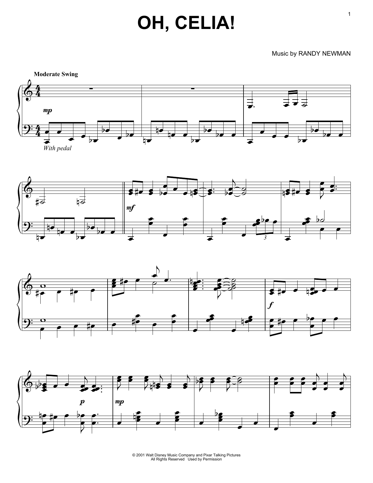 Download Randy Newman 'Oh, Celia!' Digital Sheet Music Notes & Chords and start playing in minutes