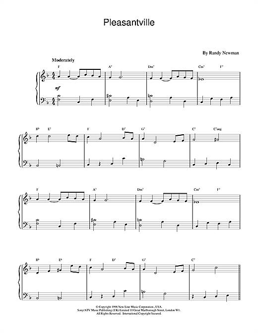 Download Randy Newman 'Pleasantville' Digital Sheet Music Notes & Chords and start playing in minutes