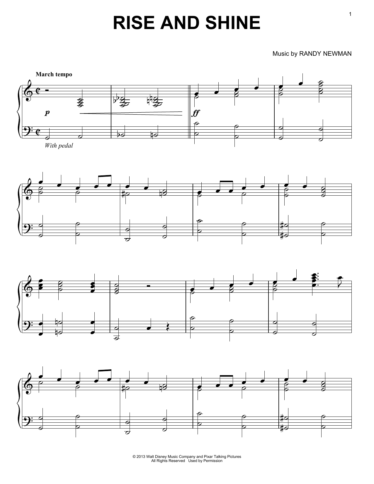 Download Randy Newman 'Rise And Shine' Digital Sheet Music Notes & Chords and start playing in minutes