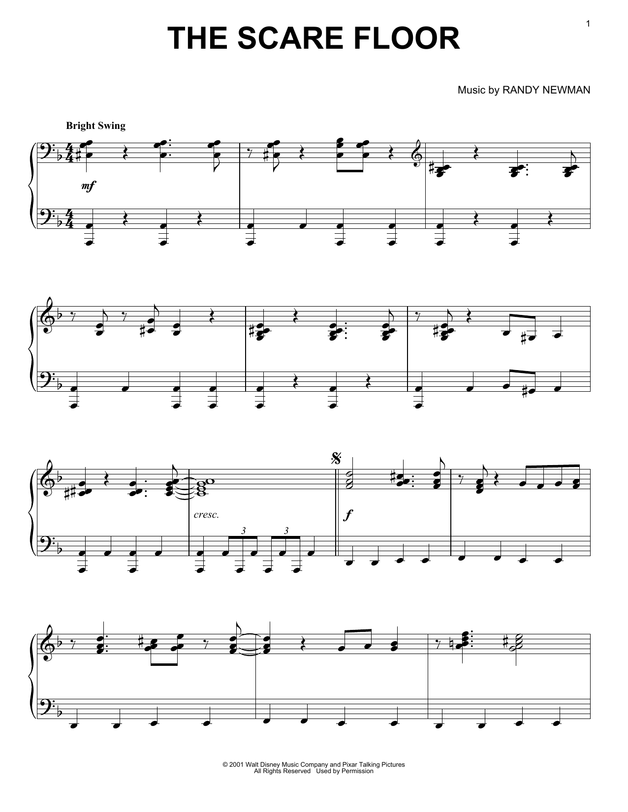 Randy Newman The Scare Floor sheet music notes and chords