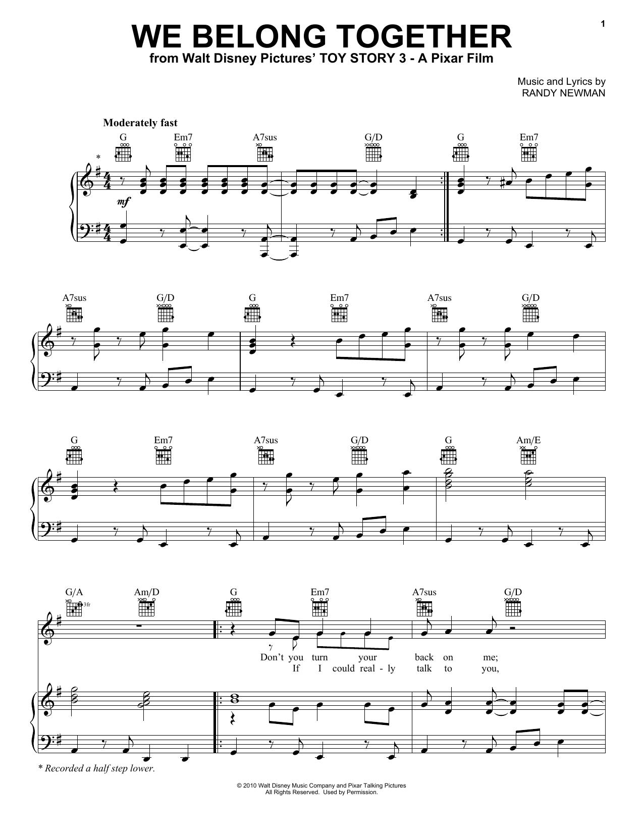 Download Randy Newman 'We Belong Together (From Disney's Toy Story 3)' Digital Sheet Music Notes & Chords and start playing in minutes