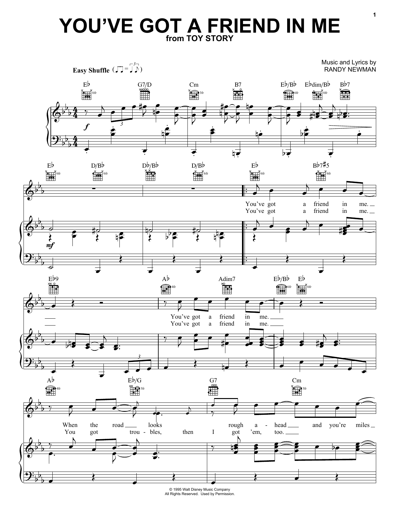 Randy Newman You've Got A Friend In Me sheet music notes and chords