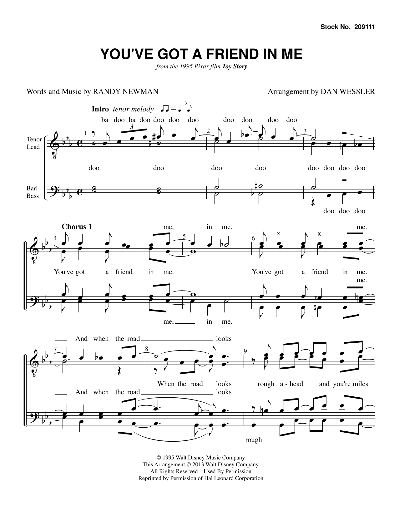 Randy Newman You've Got A Friend In Me (from Toy Story) (arr. Dan Wessler) sheet music preview music notes and score for TTBB Choir including 5 page(s)