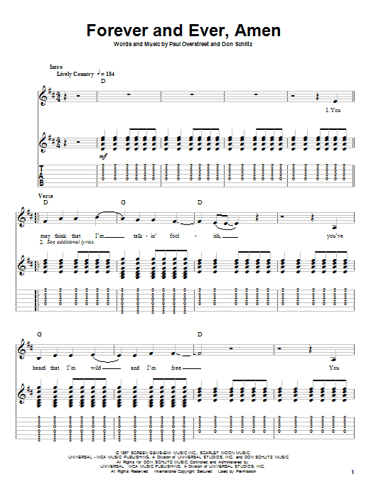 Randy Travis Forever And Ever, Amen sheet music notes and chords