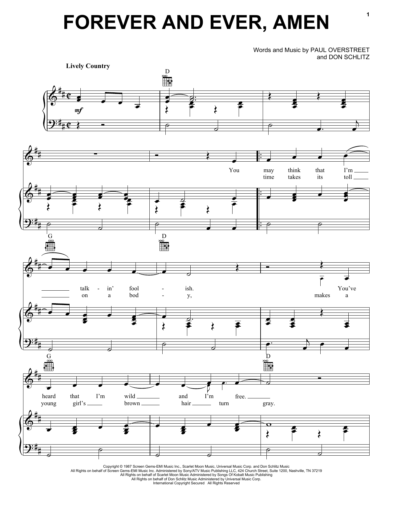 Randy Travis Forever And Ever, Amen sheet music preview music notes and score for Guitar Tab including 8 page(s)