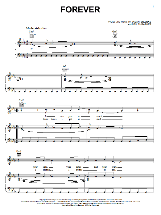 Rascal Flatts Forever sheet music preview music notes and score for Piano, Vocal & Guitar (Right-Hand Melody) including 6 page(s)