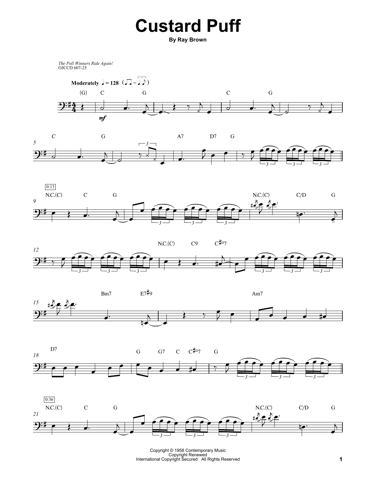 Download Ray Brown 'Custard Puff' Digital Sheet Music Notes & Chords and start playing in minutes