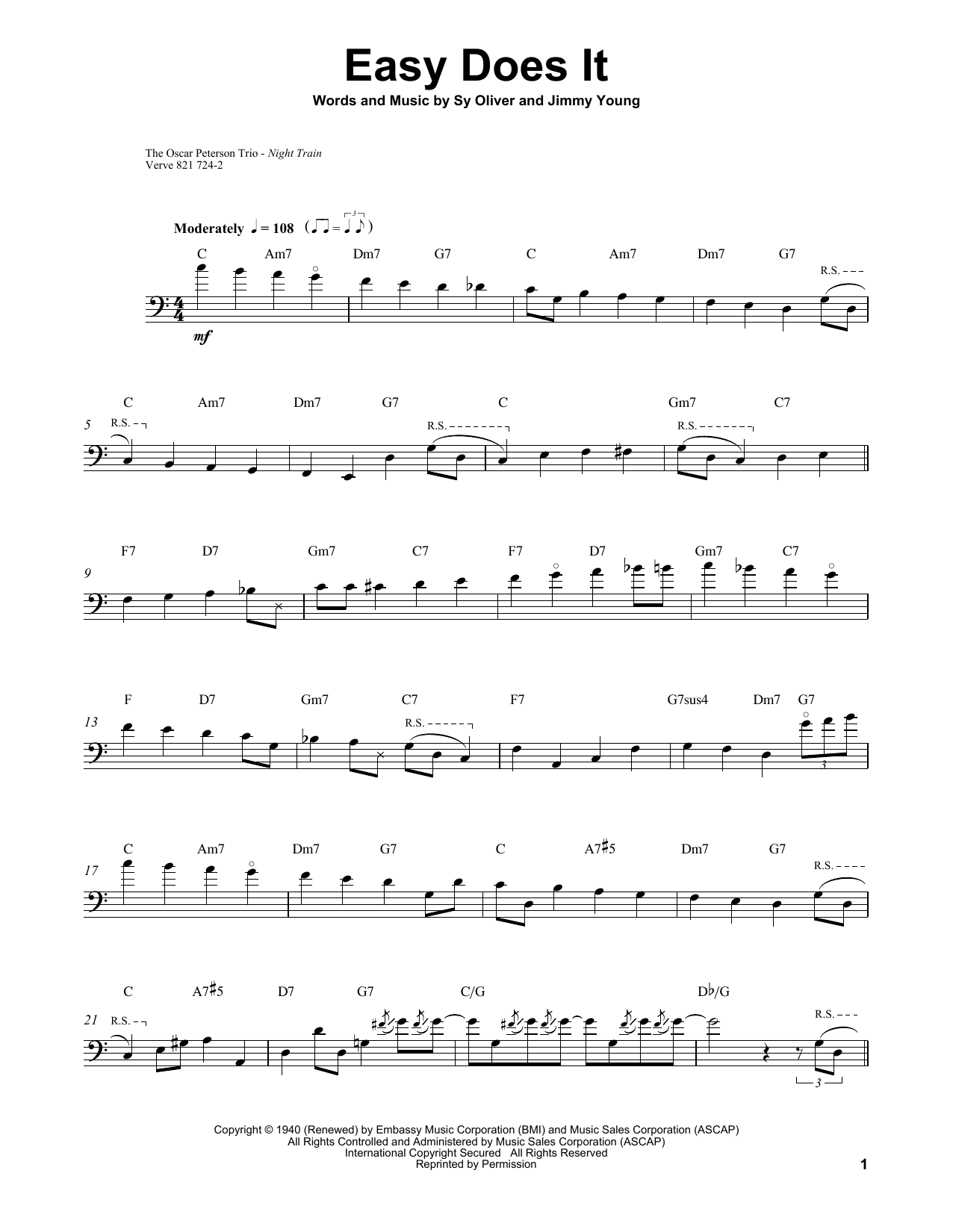 Download Ray Brown 'Easy Does It' Digital Sheet Music Notes & Chords and start playing in minutes