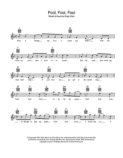 Ray Brown Fool, Fool, Fool sheet music preview music notes and score for Melody Line, Lyrics & Chords including 2 page(s)