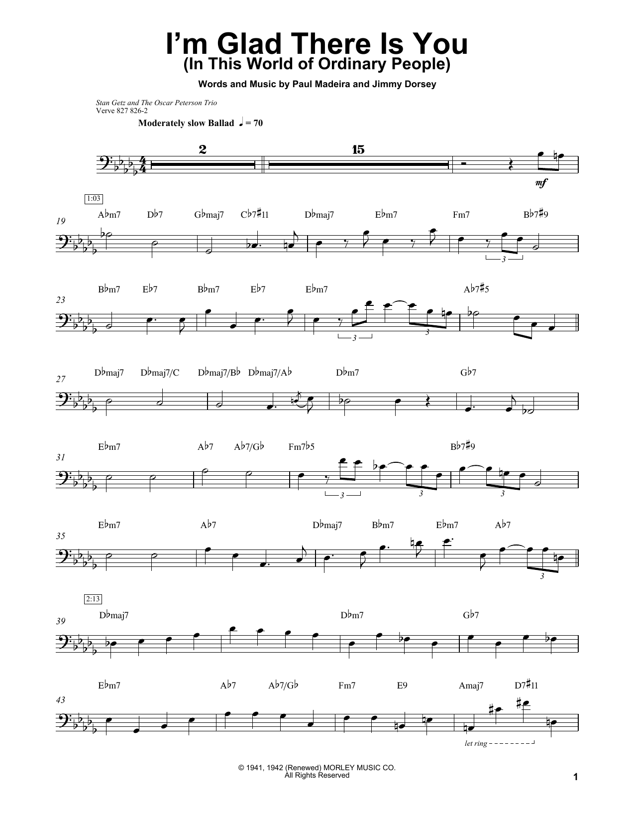 Download Ray Brown 'I'm Glad There Is You (In This World Of Ordinary People)' Digital Sheet Music Notes & Chords and start playing in minutes