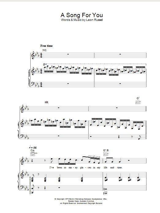Ray Charles A Song For You sheet music preview music notes and score for Piano, Vocal & Guitar including 6 page(s)