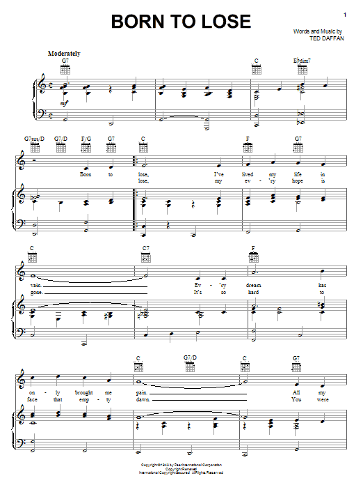 Ray Charles Born To Lose sheet music notes and chords