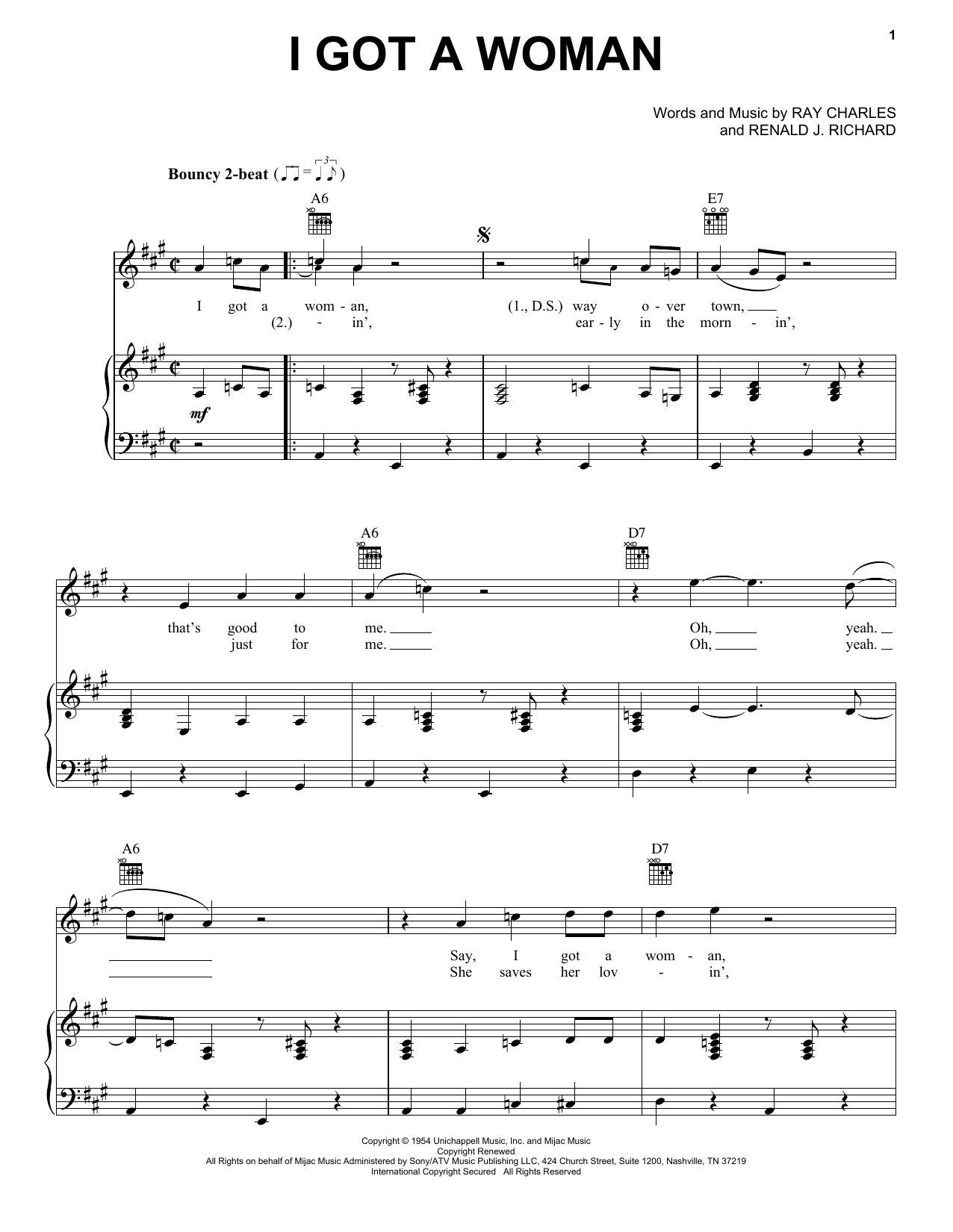 Ray Charles I Got A Woman sheet music preview music notes and score for Drums Transcription including 1 page(s)