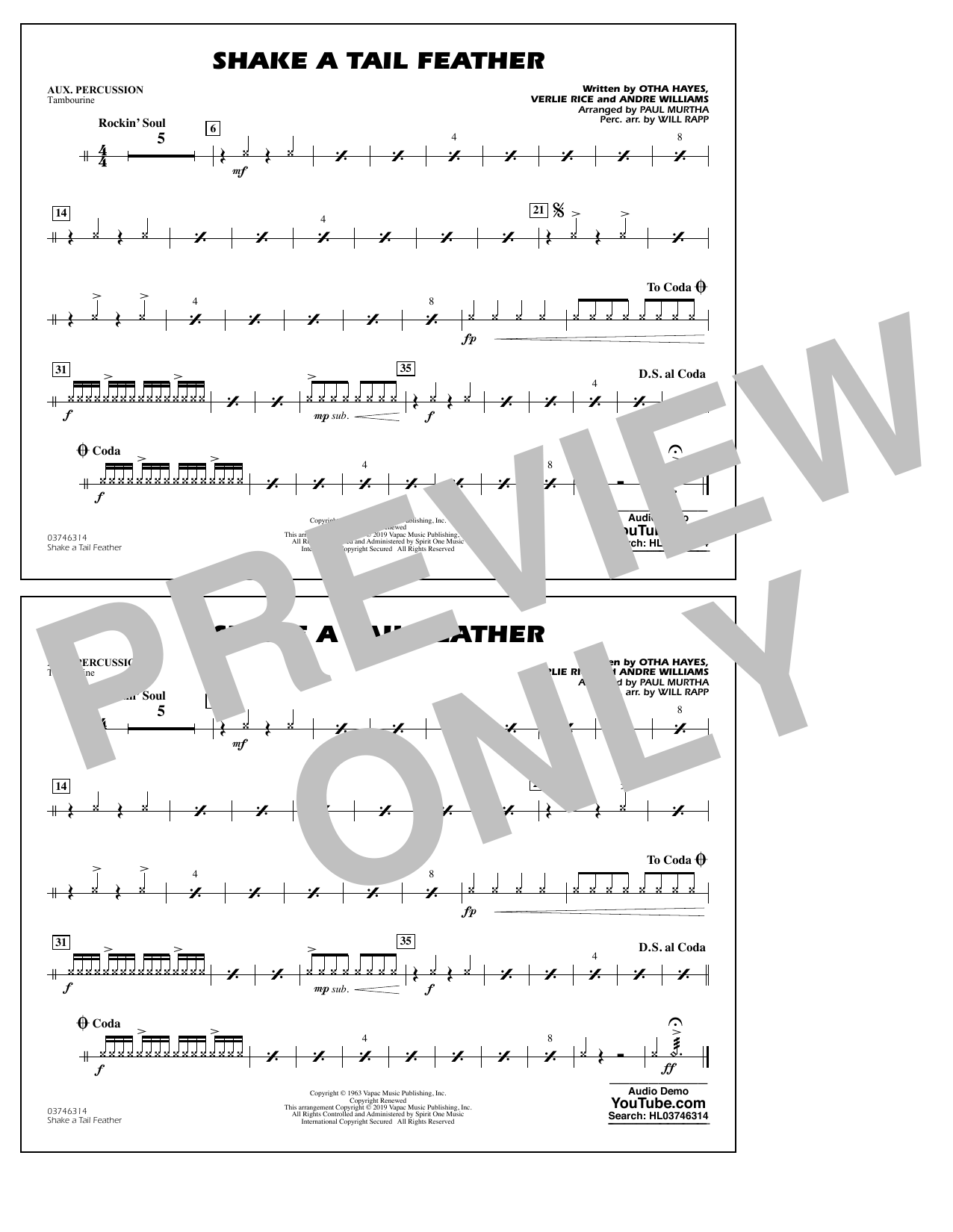 Ray Charles Shake a Tail Feather (arr. Paul Murtha) - Aux Percussion sheet music preview music notes and score for Marching Band including 1 page(s)
