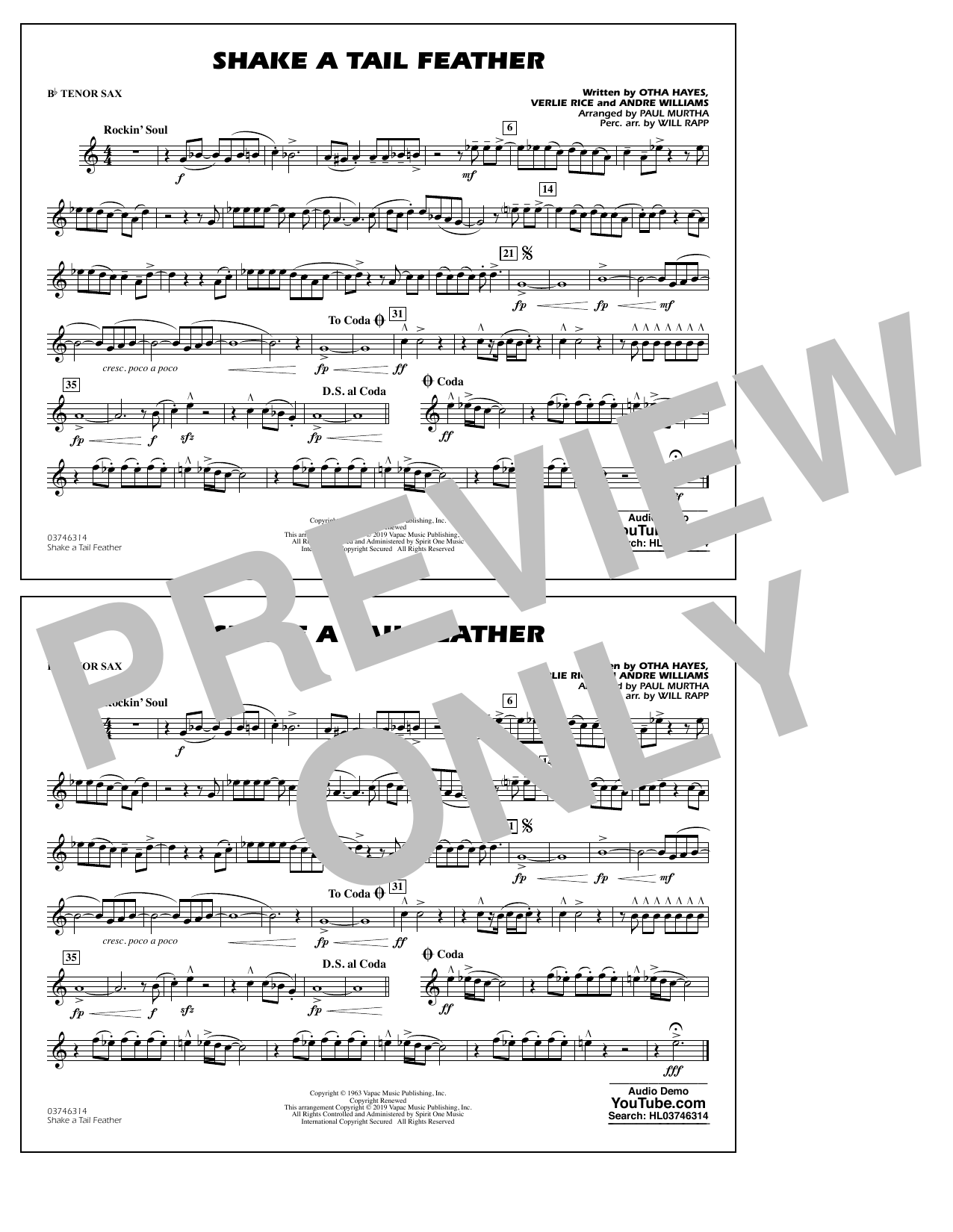 Ray Charles Shake a Tail Feather (arr. Paul Murtha) - Bb Tenor Sax sheet music preview music notes and score for Marching Band including 1 page(s)