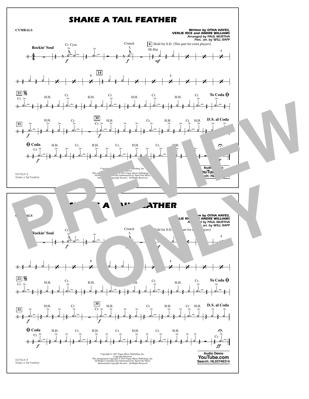 Ray Charles Shake a Tail Feather (arr. Paul Murtha) - Cymbals sheet music preview music notes and score for Marching Band including 1 page(s)