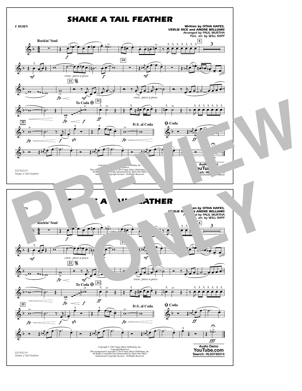 Ray Charles Shake a Tail Feather (arr. Paul Murtha) - F Horn sheet music preview music notes and score for Marching Band including 1 page(s)