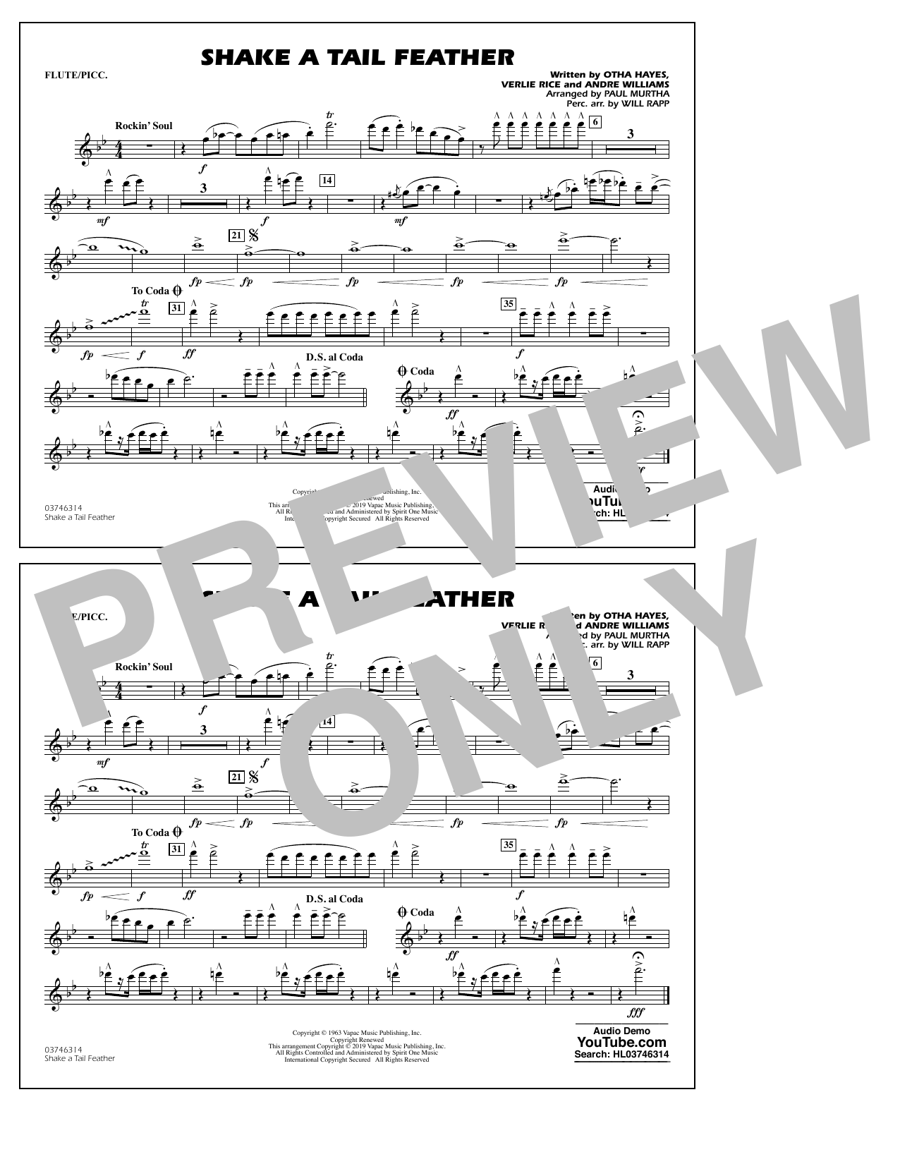 Ray Charles Shake a Tail Feather (arr. Paul Murtha) - Flute/Piccolo sheet music preview music notes and score for Marching Band including 1 page(s)