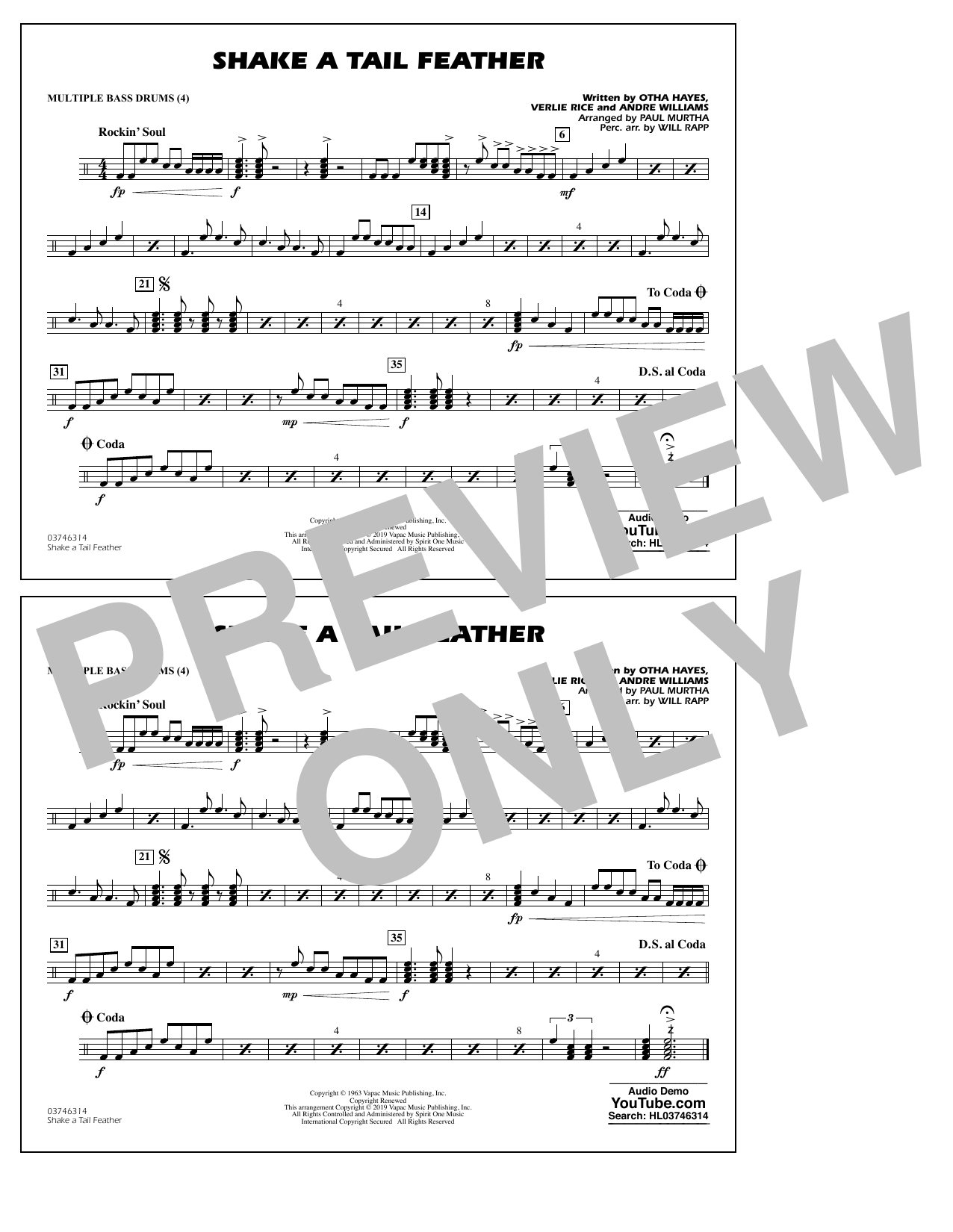 Ray Charles Shake a Tail Feather (arr. Paul Murtha) - Multiple Bass Drums sheet music preview music notes and score for Marching Band including 1 page(s)