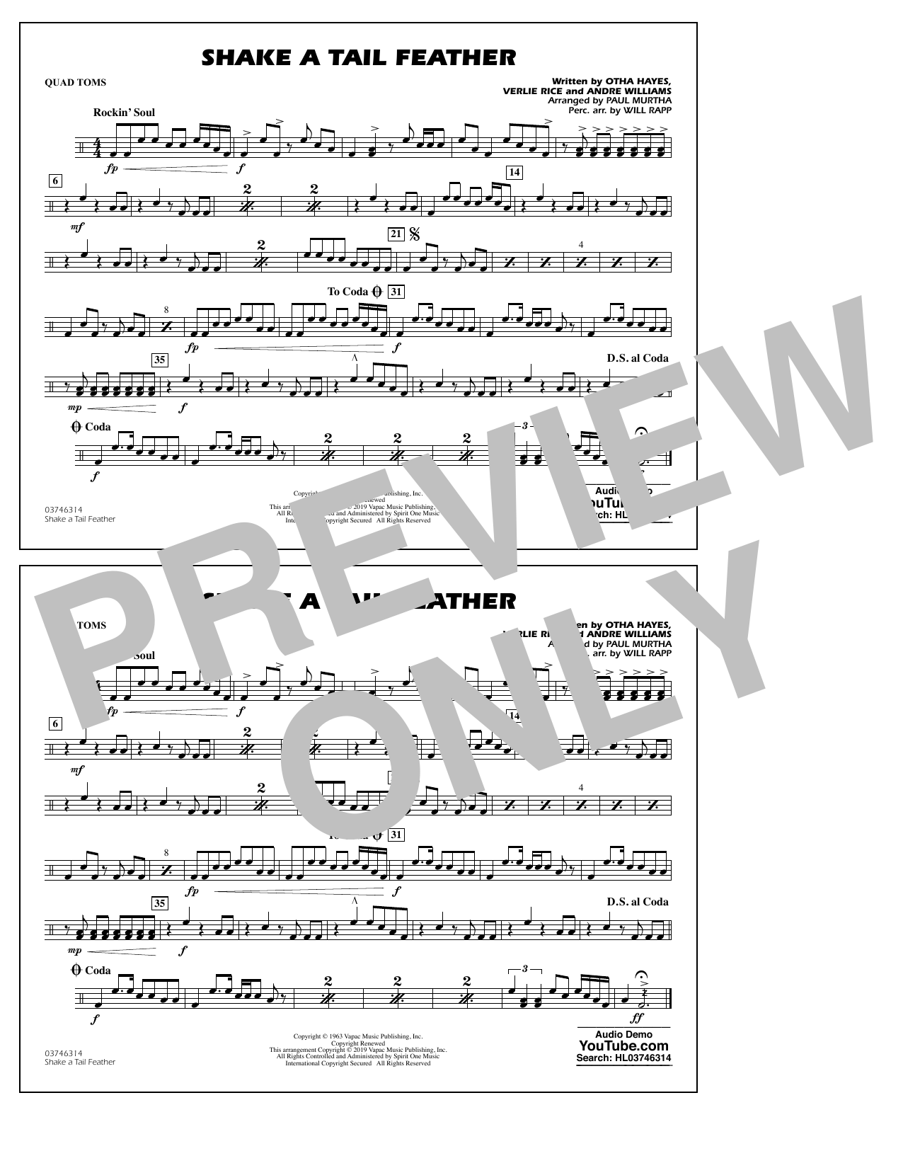Ray Charles Shake a Tail Feather (arr. Paul Murtha) - Quad Toms sheet music preview music notes and score for Marching Band including 1 page(s)