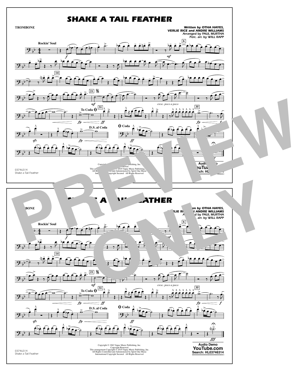 Ray Charles Shake a Tail Feather (arr. Paul Murtha) - Trombone sheet music preview music notes and score for Marching Band including 1 page(s)