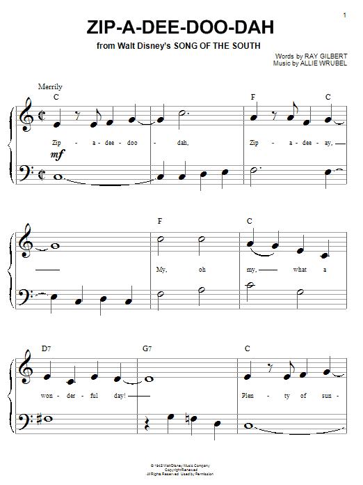 Ray Gilbert Zip-A-Dee-Doo-Dah sheet music notes and chords