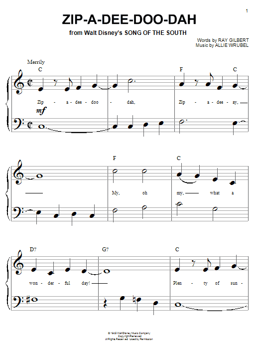 Ray Gilbert Zip-A-Dee-Doo-Dah sheet music preview music notes and score for Guitar Tab including 2 page(s)