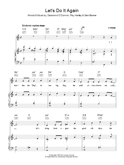 Ray Hartley Let's Do It Again sheet music preview music notes and score for Piano, Vocal & Guitar (Right-Hand Melody) including 5 page(s)