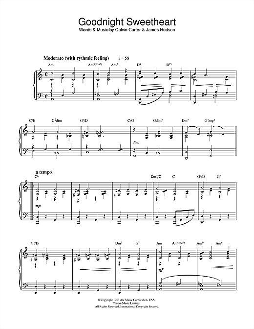 Download Ray Noble 'Goodnight Sweetheart' Digital Sheet Music Notes & Chords and start playing in minutes