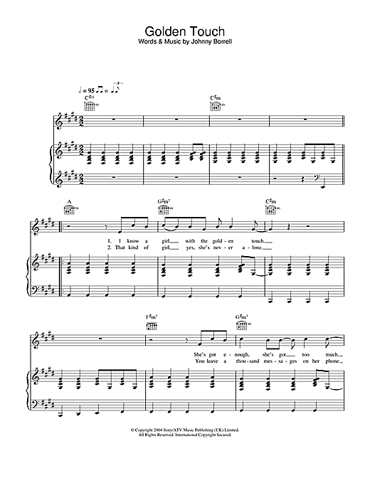 Razorlight Golden Touch sheet music notes and chords