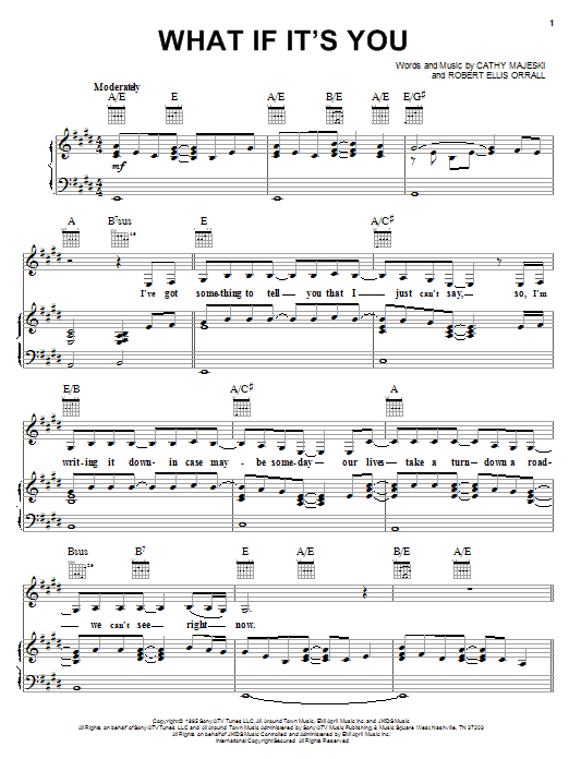 Reba McEntire What If It's You sheet music notes and chords
