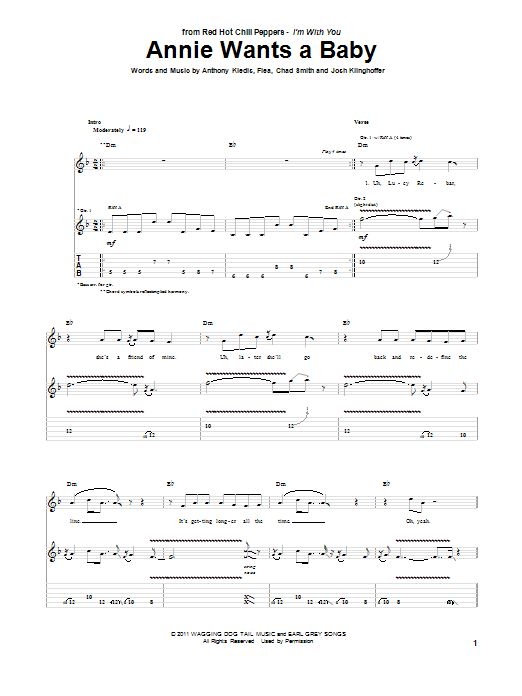 Red Hot Chili Peppers Annie Wants A Baby sheet music preview music notes and score for Piano, Vocal & Guitar (Right-Hand Melody) including 5 page(s)