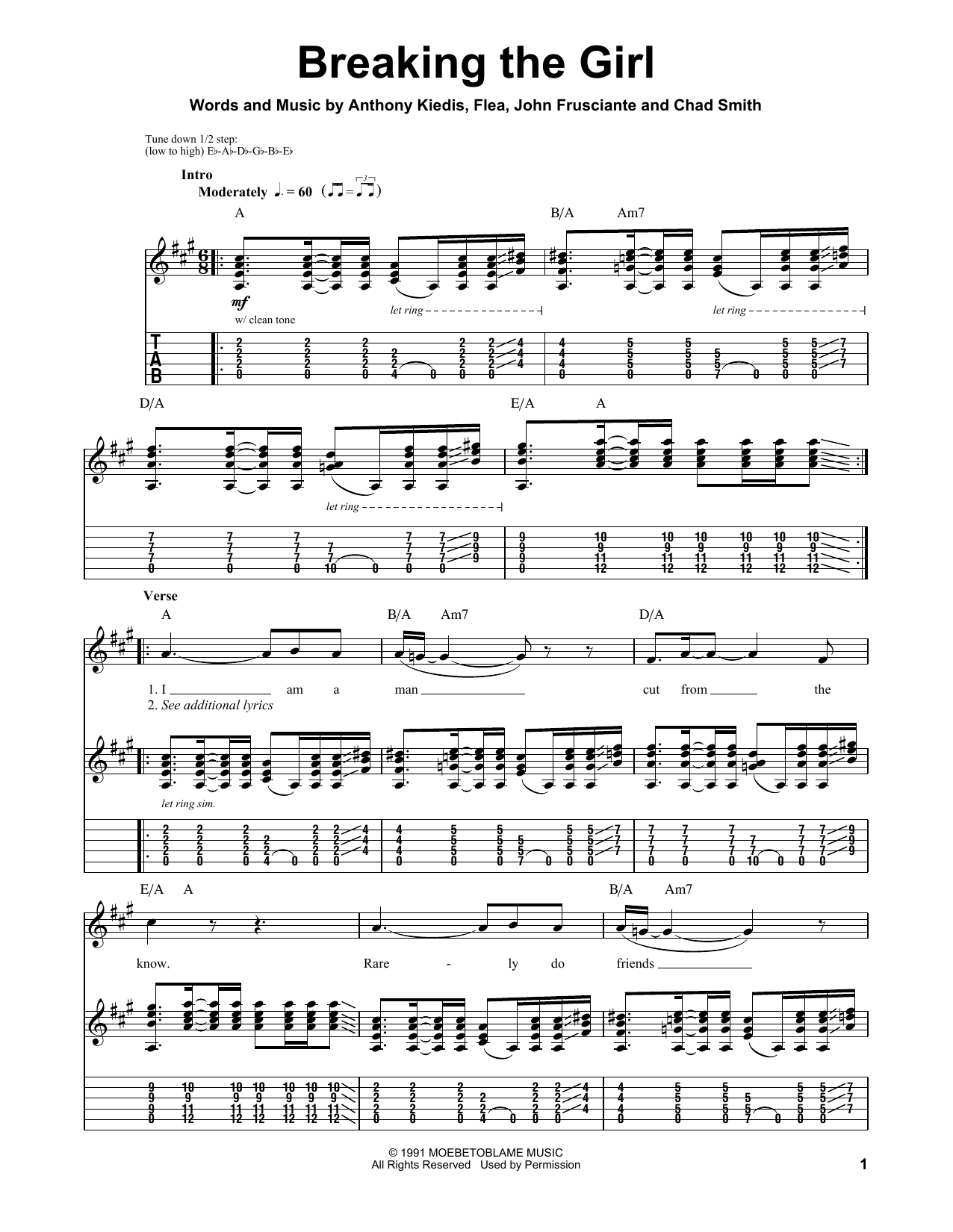 Red Hot Chili Peppers Breaking The Girl sheet music preview music notes and score for Guitar Tab including 5 page(s)