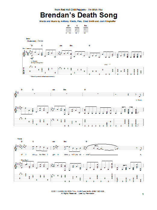 Red Hot Chili Peppers Brendan's Death Song sheet music preview music notes and score for Guitar Tab including 13 page(s)