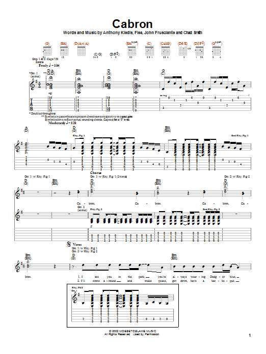 Red Hot Chili Peppers Cabron sheet music notes and chords