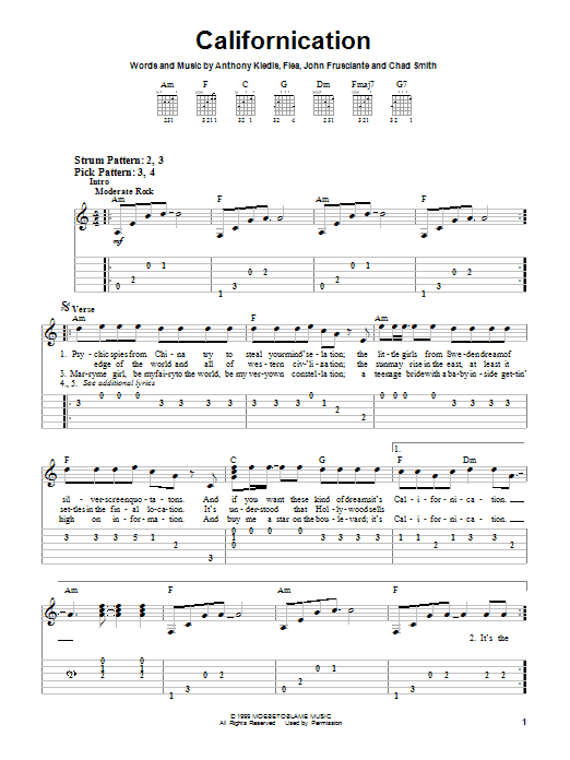 Red Hot Chili Peppers Californication sheet music preview music notes and score for Easy Guitar Tab including 3 page(s)
