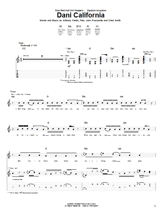 Red Hot Chili Peppers Dani California sheet music preview music notes and score for Bass Guitar Tab including 12 page(s)