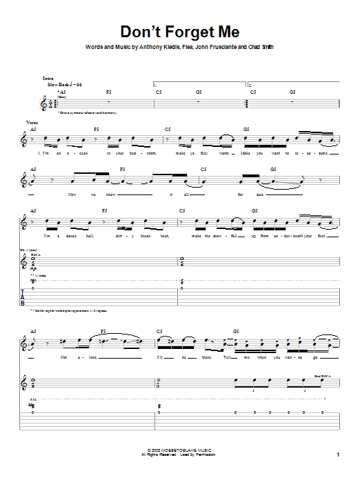 Red Hot Chili Peppers Don't Forget Me sheet music notes and chords