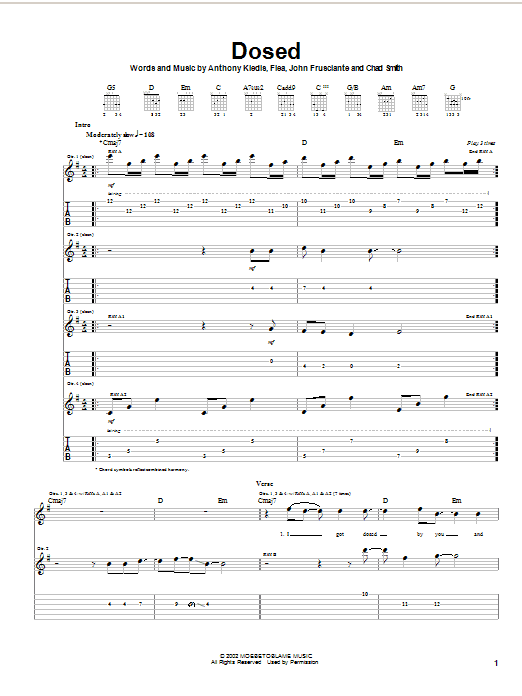 Red Hot Chili Peppers Dosed sheet music notes and chords