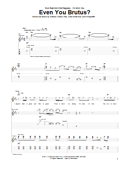 Red Hot Chili Peppers Even You Brutus? sheet music preview music notes and score for Guitar Tab including 11 page(s)