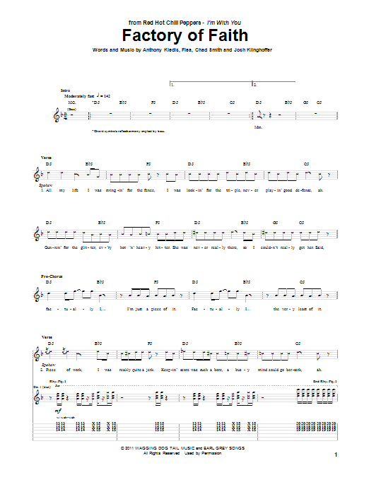 Red Hot Chili Peppers Factory Of Faith sheet music preview music notes and score for Guitar Tab including 13 page(s)