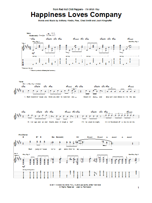 Red Hot Chili Peppers Happiness Loves Company sheet music preview music notes and score for Piano, Vocal & Guitar (Right-Hand Melody) including 7 page(s)