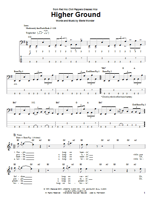 Red Hot Chili Peppers Higher Ground sheet music preview music notes and score for Drums Transcription including 2 page(s)